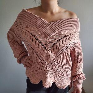 NWT Blush Jonathan Simkhai Macrame Knit Sweater